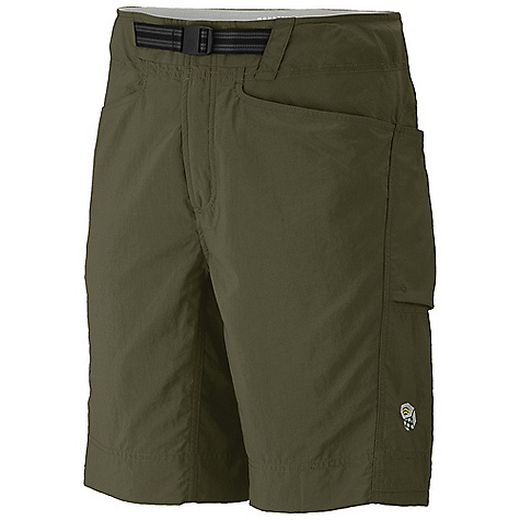On Sale. Free Shipping. Mountain Hardwear Men's Wildlands Short DECENT FEATURES of the Mountain Hardwear Men's Wildlands Short Updated hand pockets and integrated belt Micro-Chamois-lined seamless conical waist for comfort under a pack Integrated webbing belt with buckle closure for easy fit adjustments Lots of pockets for storage Mesh drain panels in pockets for river crossings and spontaneous swims Full length inseam gusset for mobility DWR finish sheds moisture UPF 50 sun protection Imported The SPECS Average Weight: 8 oz / 236 g Inseam: 10in. / 25 cm, 12in. / 31 cm Body: Canyon Twill (100% nylon) Lining: Micro-Chamois (100% brushed polyester) - $47.96