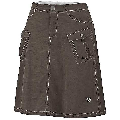 Free Shipping. Mountain Hardwear Women's La Rambla Skirt DECENT FEATURES of the Mountain Hardwear Women's La Rambla Skirt Micro-Chamois-lined, seamless conical waist for comfort under a pack Lots of pockets for storage Flared hem for ease of movement Durable, wicking, fast-drying fabric UPF 50 sun protection Imported The SPECS Apparel Fit: Relaxed Average Weight: 7.3 oz / 206 g Inseam Length: 22in. / 56 cm Body: New Heights Slub (100% nylon) Lining: Micro-Chamois (100% brushed polyester) Panel: Mini Wick Mesh (100% nylon) - $59.95