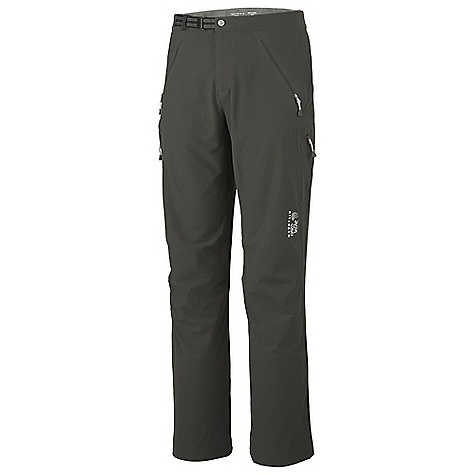 Free Shipping. Mountain Hardwear Men's Chockstone Pant DECENT FEATURES of the Mountain Hardwear Men's Chockstone Pant Micro-Chamois-lined waist for comfort under a harness Integrated webbing belt with buckle closure for easy fit adjustments Lots of pockets for storage Inseam gusset and knee articulation for mobility Inner twill tape tabs for resourceful gaiter-making The SPECS Average Weight: 13 oz / 366 g Inseam: 30, 32, 34in. / 76, 81, 86 cm Body: Chockstone doubleweave Soft-shell (91% nylon, 9% elastane) - $124.95