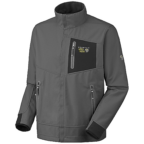 On Sale. Free Shipping. Mountain Hardwear Men's G50 Jacket DECENT FEATURES of the Mountain Hardwear Men's G50 Jacket Highly breathable, windproof soft shell with a soft brushed interior Pack comp zip handwarmer pockets Dual hem drawcords for quick fit adjustments Zip chest stash pocket Micro-Chamois-lined chin guard eliminates zipper chafe The SPECS Average Weight: 1 lb 5 oz / 595 g Center Back Length: 29in. / 74 cm Body: AirShield 3L Softshell (86% polyester, 14% elastane) - $103.99