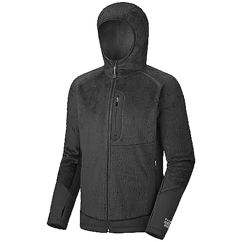 On Sale. Free Shipping. Mountain Hardwear Men's Monkey Man Lite Jacket DECENT FEATURES of the Mountain Hardwear Men's Monkey Man Lite Jacket Micro-Climate Zoning construction for built in warmth, breathability and stretch Extremely warm, extremely soft Stretch hem and cuffs seal in warmth Close fitting hood, designed to fit under helmet Pockets set high and out of the way from harness and pack straps Integrated thumb loops for warmth The SPECS Average Weight: 1 lb 2 oz / 498 g Center Back Length: 28in. / 71 cm Fabric: Body: Polartec ThermalPro Monkey Phur Lite (97% polyester, 3% elastane), Panel: Polartec Power Stretch (88% polyester, 12% elastane) - $112.99