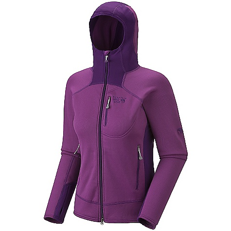 On Sale. Free Shipping. Mountain Hardwear Women's Solidus Jacket DECENT FEATURES of the Mountain Hardwear Women's Solidus Jacket Close fitting hood, designed to fit under helmet Dual hem drawcords for quick fit adjustments Zip chest stash pocket Integrated thumb loops for warmth Zip handwarmer pockets The SPECS Average Weight: 15 oz / 425 g Center Back Length: 25in. / 64 cm Body: Stretch Fleece (93% polyester, 7% elastane) - $79.99