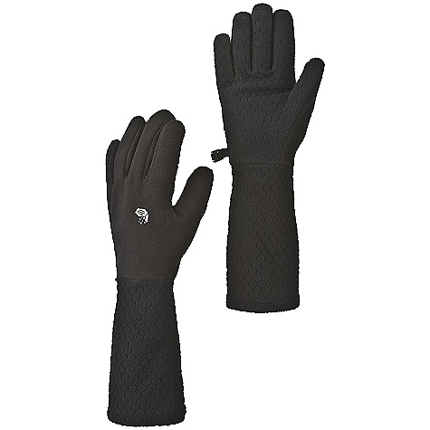 Mountain Hardwear Women's Deva Glove DECENT FEATURES of the Mountain Hardwear Women's Deva Glove Extra long in.Devain. gauntlet can be folded up or unfolded for extra coverage and warmth Flat-lock construction for a seamless fit Seamless finger tips for increased sensitivity Wear alone or use as a liner Imported The SPECS Average Weight: 1.7 oz / 49 g Body: 230-Weight Polyester Fleece (100% polyester) Palm: Hex Fleece 230 - $29.95