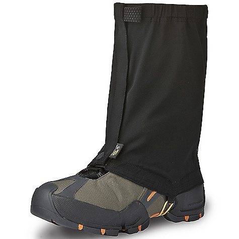 Ski Free Shipping. Mountain Hardwear Men's Alpinismo Gaiter DECENT FEATURES of the Mountain Hardwear Men's Alpinismo Gaiter Low-profile fit with Velcro front closure won't interfere with movement Snug elastic at top opening provides a secure fit Fits over ski and mountaineering boots Full gripper elastic at base holds gaiter in place and seals out the elements Side loops and shockcord can be used for added security in keeping gaiter on Stay-put lace hook High-visibility tonal reflective print at back of gaiter Imported The SPECS Average Weight: 5.2 oz / 148 g Height: 11in. / 28 cm Body: Stretch nylon Softshell (94% nylon, 6% elastane) - $49.95