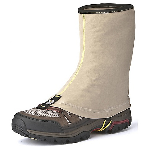 Camp and Hike Mountain Hardwear Men's Scree Gaiter DECENT FEATURES of the Mountain Hardwear Men's Scree Gaiter Air-permeable stretch fabric with high abrasion resistance 3M Dual-Lock with high-tenacity VHB adhesive Pull-on fit is low-profile and minimizes bulk Fits both trail-running shoes and hiking boots Side loops and shockcord can be used for added security in keeping gaiter on Stay-put lace hook High-visibility tonal reflective print at back of gaiter UPF 50 sun protection Imported The SPECS Average Weight: 2.2 oz / 61 g Height: 9in. / 23 cm Body: Switchback plus (85% nylon, 15% elastane) - $39.95