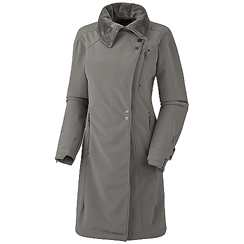 Free Shipping. Mountain Hardwear Women's Tuja Trench Coat DECENT FEATURES of the Mountain Hardwear Women's Tuja Trench Coat Stretch soft shell fabric is bonded to luxurious high-pile fleece for warmth and weather resistance Chest stash pocket with hidden zip Two zip handwarmer pockets Two internal zip pockets for keys, ID, other small objects Earpiece cord exit inside pocket Zip cuffs for quick adjustments DWR finish repels water The SPECS Average Weight: 2 lbs 10 oz / 1.18 kg Center Back Length: 38in. / 97 cm Fabric: Body: Batura Soft Shell (96% polyester, 4% elastane) - $265.00