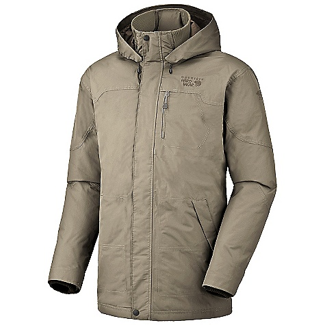Free Shipping. Mountain Hardwear Men's Downtown Coat DECENT FEATURES of the Mountain Hardwear Men's Downtown Coat AXF Super DWR finish repels water 5 times longer than standard DWRs Insulated with lofty and warm 650-Fill goose down Fully taped and waterproof Micro-Chamois-lined chin guard Zip-off hood Fleece-lined hand pockets Interior MP3 pocket with earpiece cord exit Interior zip pocket Imported The SPECS Average Weight: 2 lbs 9 oz / 1.16 g Center Back Length: 35in. / 89 cm Body: Ascent micro herringbone (100% nylon) Insulation: 650-Fill Goose Down Waterproofness: 10000 mm Breathability / MVTR: 10000 g/m2 - $374.95