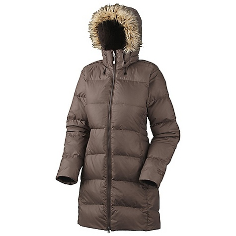 On Sale. Free Shipping. Mountain Hardwear Women's Downtown Coat DECENT FEATURES of the Mountain Hardwear Women's Downtown Coat Insulated, zip-off hood with removable faux-fur trim, for added warmth and style High-pile Velboa Raschel fleece lining for exceptionally soft warmth Fleece-lined chin guard prevents zipper chafe Two front fleece-lined hand warmer pockets Interior zip pocket stores ID, keys, other small essentials Insulated with lofty and warm 650-fill goose down Stretchy inner cuffs and adjustable drawcords at face seal in warmth The SPECS Average Weight: 2 lbs 4 oz / 1020 g Center Back Length: 36in. / 91 cm Body: Hi-Five 30D Rip (100% nylon) Insulation: 650-Fill Goose Down - $208.99