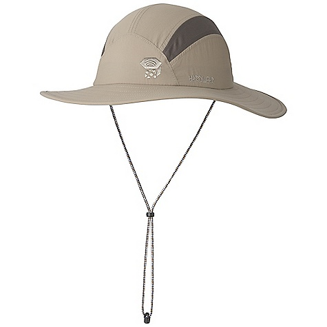 Mountain Hardwear Men's Canyon Sun Hat DECENT FEATURES of the Mountain Hardwear Men's Canyon Sun Hat Wrinkle-resistant, quick-drying fabric is lightweight, breathable, and durable Mesh sides for ventilation Dark, glare-reducing color under brim Wide brim provides full face coverage Drawcord attachment under the chin The SPECS Average Weight: 4 oz / 112 g Body: nylon plainweave (100% nylon) Panel: Micro Mesh (100% polyester) - $31.95