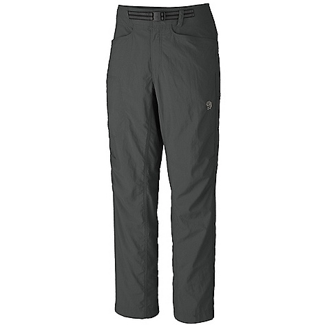 Free Shipping. Mountain Hardwear Men's Mesa Pant DECENT FEATURES of the Mountain Hardwear Men's Mesa Pant Micro-Chamois-lined seamless conical waist for comfort under a pack Integrated webbing belt with buckle closure for easy fit adjustments Lots of pockets for storage Mesh drain panels in pockets for river crossings and spontaneous swims Full-length inseam gusset and articulated knees for mobility DWR finish sheds moisture UPF 50 sun protection Imported The SPECS Average Weight: 13.2 oz / 375 g Inseam: 30, 32, 34in. / 76, 81, 86 cm Apparel Fit: Relaxed Body: Canyon Twill (100% nylon) Lining: Micro-Chamois (100% brushed polyester) - $64.95