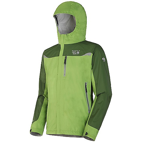 On Sale. Free Shipping. Mountain Hardwear Men's Cohesion Stretch Jacket DECENT FEATURES of the Mountain Hardwear Men's Cohesion Stretch Jacket All over stretch for comfort and freedom of movement Attached, roll-away Ergo hood fits over helmet, single-handed drawcord for quick adjustments Pit zips for ventilation Cuff tabs and hem drawcords for quick fit adjustments Micro-Chamois-lined chin guard eliminates zipper chafe The SPECS Average Weight: 13 oz / 370 g Center Back Length: 30in. / 76 cm Fabric: Body: Ark Stretch 30D 2.5 Layer (100% nylon) - $109.99
