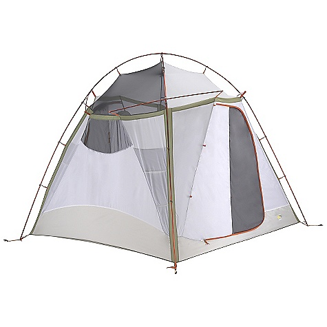 Camp and Hike Free Shipping. Mountain Hardwear Corners 4 Tent DECENT FEATURES of the Mountain Hardwear Corners 4 Tent Vents positioned on all four sides of the fly keep the interior cool Unique pole structure with 4 hubs at corners maximizes interior volume and makes set up extremely easy Vestibule design creates a dry storage area and prevents water from reaching the tent floor Proprietary Evolution Tension Arch stabilizes tent Reflective starter point and guy-out loops for easy set-up at night Clear SVX window is UV-resistant, providing a view and extra light in.Pitch Light configuration allows user to set up a superlight shelter using only the tent fly, poles and footprint (sold separately)in. Imported The SPECS Capacity: 4 Person Pitch Type: Freestanding Minimum Weight: 14 lbs 7 oz / 6.53 kg Floor Area: 64 square feet / 5.9 square meter Canopy: 68D Polyester Ripstop DWR (100% polyester)/20D Nylon knit Mesh (100% Nylon) Fly: 75D Polyester Taffeta 1500mm PU Floor: 150D Polyester oxford 3000mm PU, DWR , FR Poles: 6061 PF Packed Weight: 15 lbs 5 oz / 6.93 kg Vestibule Area: 22 + 14 square feet / 2 + 1.3 square meter Interior Peak: 83in. / 211 cm Number of Pole: 2 Doors: 2 Vestibules: 2 Packed Size: 11 x 34in. / 28 x 86 cm Reinforcement: 75D Polyester Taffeta 1500mm PU - $399.95