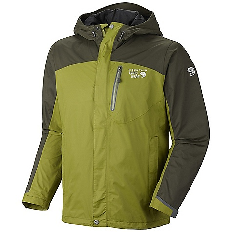 Free Shipping. Mountain Hardwear Men's Ampato Jacket DECENT FEATURES of the Mountain Hardwear Men's Ampato Jacket Fully adjustable, attached hood Mesh lining Adjustable cuff and hem Zippered hand and chest pockets Interior zip pocket for keys, ID, other small items The SPECS Average Weight: 1 lb 3 oz / 538 g Center Back Length: 30in. / 76 cm Body: Dry.Q Elite 2L Dobby (100% nylon) - $234.95