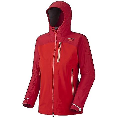 On Sale. Free Shipping. Mountain Hardwear Women's Drystein Jacket DECENT FEATURES of the Mountain Hardwear Women's Drystein Jacket Constructed with Mountain Hardwear DryQ Elite technology Highly breathable, water resistant side panels Chest-high hand pockets accommodate a harness or pack Helmet-compatible hood with single-pull adjustment system and extra beefy brim Welded watertight pockets and zips seal out moisture Interior zip pocket for keys, ID, other small items Micro-Chamois-lined chin guard eliminates zipper chafe 80 Wash DWR The SPECS Average Weight: 1 lb 4 oz / 561 g Center Back Length: 28in. / 71 cm Fabric: Body: 40D 3L (100% nylon), Panel: Rebar Ripstop Softshell (65% polyester, 35% nylon); TufStretch Doubleweave (58% nylon, 31% polyester, 11% elastane) - $232.99