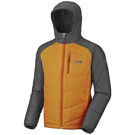 Free Shipping. Mountain Hardwear Men's Hooded Compressor Jacket DECENT FEATURES of the Mountain Hardwear Men's Hooded Compressor Jacket Micro Climate Zoning construction with variable insulation where you want it Pockets set high and out of the way from harness and pack straps Dual hem draw cords for quick fit adjustments Low profile elastic cuffs for easy layering Micro-Chamois-lined chin guard prevents zipper chafe The SPECS Average Weight: 14 oz / 397 g Center Back Length: 27.5in. / 70 cm Body: 20D Ripstop (100% nylon) Insulation: Thermic micro - $199.95