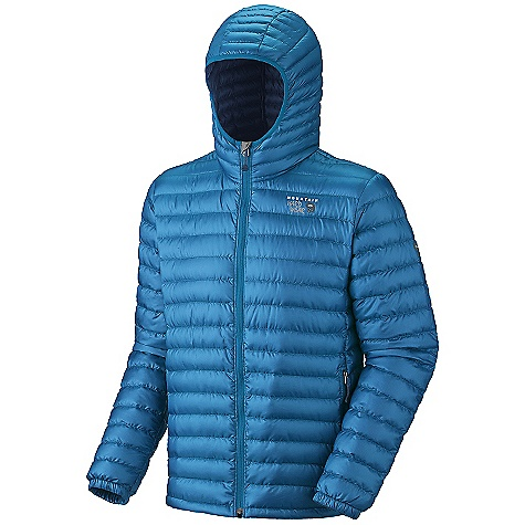 Free Shipping. Mountain Hardwear Men's Nitrous Hooded Jacket DECENT FEATURES of the Mountain Hardwear Men's Nitrous Hooded Jacket New design Quilted construction holds insulation in place Two front handwarmer pockets Dual hem drawcords seal in warmth Full elastic cuffs slide easily over layers to seal in warmth Micro-Chamois-lined chin guard prevents zipper chafe DWR finish repels water The SPECS Average Weight: 13 oz / 377 g Center Back Length: 28in. / 71 cm Fabric: Body: Sensor Ripstop (100% polyester), Insulation: 800-Fill Goose Down - $249.95