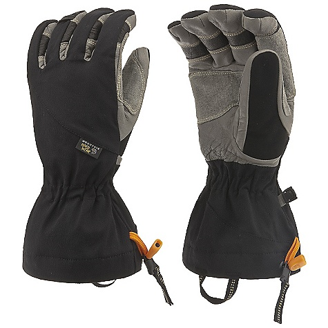 Entertainment Free Shipping. Mountain Hardwear Hydra EXT Glove DECENT FEATURES of the Mountain Hardwear Hydra EXT Glove 4-way stretch nylon softshell fabric offers a snug, flexible fit Wool blend fleece lining on back of hand for all day comfort All leather palm is rugged and very dexterous Durable water-resistant goatskin palm and fingers Soft suede thumb patch for wiping wet noses Carabiner loop for hanging gloves off harness keeps gloves dry when not in use Easy to use single pull / quick release gauntlet adjustment blocks out elements The SPECS Average Weight: 6 oz / 179 g Body: 4-Way Stretch Nylon Softshell (92% nylon, 8% elastane) Laminate: OutDry Waterproof Technology Palm: Water-resistant Goatskin Leather - $109.95