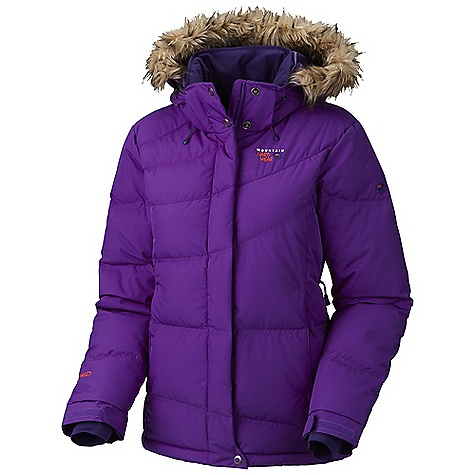 Free Shipping. Mountain Hardwear Women's Downhill Parka DECENT FEATURES of the Mountain Hardwear Women's Downhill Parka New design Removable zip-off hood Removable, adjustable, stretch powder skirt Soft,in.Butter Jerseyin. cuffs One-handed hood and hem drawcords for quick adjustments Pit zips for additional ventilation Zip handwarmer pockets Plenty of interior pockets for all your gear Laminated Velcro cuff tabs seal in warmth Micro-Chamois -lined chin guard eliminates zipper chafe The SPECS Average Weight: 2 lbs 1 oz / 940 g Center Back Length: 29in. / 74 cm Body: 2L Optimo ripstop (100% nylon) Insulation: 650-Fill goose Down - $349.95