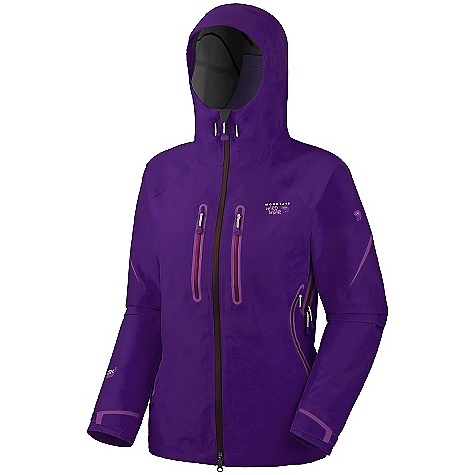 On Sale. Free Shipping. Mountain Hardwear Women's Asteria Jacket DECENT FEATURES of the Mountain Hardwear Women's Asteria Jacket Helmet-compatible hood with single-pull adjustment system and extra beefy brim Chest-high hand pockets accommodate a harness or pack Super light, extra-long pit zips for ventilation Welded watertight pockets and zips seal out moisture Interior zip pocket for keys, ID, other small items Micro-Chamois-lined chin guard eliminates zipper chafe 80 Wash DWR The SPECS Average Weight: 1 lb 1 oz / 469 g Center Back Length: 27.5in. / 70 cm Fabric: Body: 70D 3 Layer (100% nylon) - $298.99