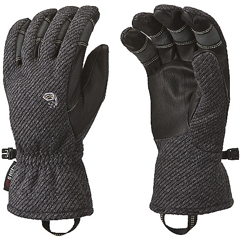 Entertainment On Sale. Free Shipping. Mountain Hardwear Gravity Glove DECENT FEATURES of the Mountain Hardwear Gravity Glove Durable water-resistant goatskin palm and fingers Brushed polyester tricot lining adds warmth and wicks moisture Elastic at back of wrist for a snug fit Pull-on webbing loop at wrist The SPECS Average Weight: 4 oz / 113 g Body: Gravity Fleece (54% polyester, 32% acrylic, 8% PU, 6% wool) Laminate: AirShield Palm: Water-resistant Goatskin Leather - $47.99