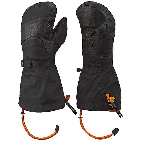 Free Shipping. Mountain Hardwear Masherbrum Mitt DECENT FEATURES of the Mountain Hardwear Masherbrum Mitt Our warmest mountaineering mitt OutDry Waterproof Technology: Extremely waterproof, totally windproof The OutDry membrane is directly bonded to the glove's outer shell, eliminating the ability for wind and water to penetrate through the sewn seams of the shell, keeping hands warmer Removable liner mitt with warm, soft Thermic Micro insulation and a water resistant shell Durable water-resistant goatskin palm and fingers Extra long gauntlet fits over bulky jacket sleeves Simple Cinch one-handed gauntlet closure with Cyberian cordlock seals out snow The SPECS Average Weight: 15.9 oz / 450 g Body: Nylon Taslan (100% nylon) Laminate: OutDry Waterproof Technology Lining: Brushed Tricot (100% Polyester) Palm: Water-resistant Goatskin Leather Insulation: Thermic Micro - $179.95