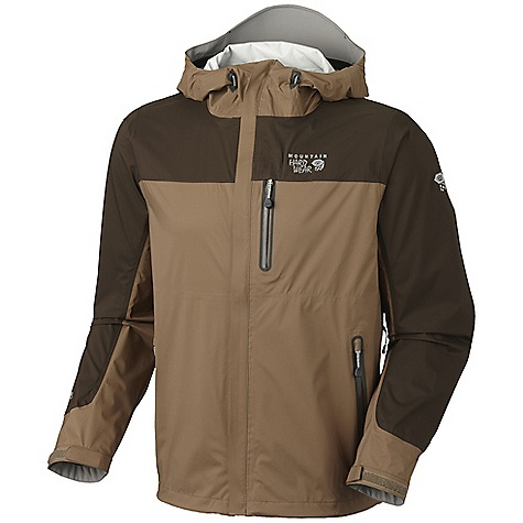 Free Shipping. Mountain Hardwear Men's Stretch Typhoon Jacket DECENT FEATURES of the Mountain Hardwear Men's Stretch Typhoon Jacket All over stretch for comfort and freedom of movement Pit zips for ventilation Attached hood with extra-beefy brim for added protection against the elements Interior zip pocket for keys, ID, other small items Cuff tabs and hem drawcords for quick fit adjustments Micro-Chamois-lined chin guard eliminates zipper chafe The SPECS Average Weight: 11.8 oz / 333 g Center Back Length: 29in. / 74 cm Body: Ark 30D Stretch (100% nylon) - $199.95