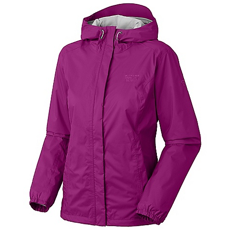 On Sale. Free Shipping. Mountain Hardwear Women's Runoff Jacket DECENT FEATURES of the Mountain Hardwear Women's Runoff Jacket Attached, adjustable hood Single hem drawcord for quick fit adjustment Full elastic cuffs to seal out moisture Two mesh lined hand pockets Micro-Chamois-lined chin guard eliminates zipper chafe The SPECS Average Weight: 12.6 oz / 358 g Center Back Length: 27in. / 69 cm Body: 70D Rainshell (100% nylon) - $57.99
