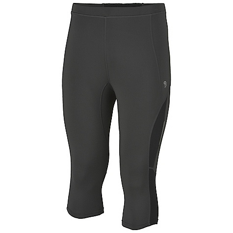 Free Shipping. Mountain Hardwear Men's Mighty Power 3-4 Tight DECENT FEATURES of the Mountain Hardwear Men's Mighty Power 3/4 Tight Low profile back pocket with zipper for secure storage MicroClimate Zoning Construction: Mesh panels for increased breathability Wide low-profile waistband for comfort Soft drawcord at waist for easy fit adjustments Reflective trim for visibility The SPECS Average Weight: 8 oz / 230 g Inseam: 16.5in. / 42 cm Body: Besso Jersey v2.0 82% polyester, 18% elastane - $64.95