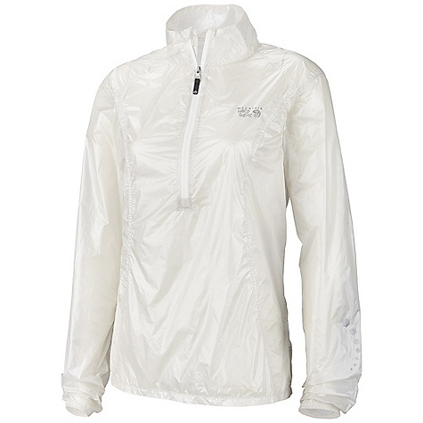 On Sale. Free Shipping. Mountain Hardwear Women's Ghost Whisperer Anorak Jacket DECENT FEATURES of the Mountain Hardwear Women's Ghost Whisperer Anorak Jacket Super ultra lightweight shell Wind and water resistant Easily pack able-stows in built in pocket Deep neck zipper for ventilation Reflective trim for visibility The SPECS Average Weight: 1.72 oz / 49 g Apparel Fit: Active Center Back: 25.5in. / 65 cm Body: 7 x 10d Whisperer ripstop (nylon) - $73.99