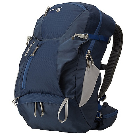 Camp and Hike On Sale. Free Shipping. Mountain Hardwear Wandrin 28L Pack DECENT FEATURES of the Mountain Hardwear Wandrin 28L Pack AirMotion suspension offers flow through ventilated backpanel and ventilated shoulder straps Large main compartment with internal security pocket Convenient pull out rain cover stores in lower compartment and keeps your gear dry Easy access Lower compartment is ideal for rain jacket or fleece Comfortable, fully padded hipbelt with two zippered pockets to keep small gear handy Dedicated zip access hydration sleeve with dual ports Roomy front compression pocket for overloads, wet gear, etc The SPECS Body: 420D HD Nylon Accent: 210D HexNut Ripstop Nylon Bottom: 420D HD Nylon The SPECS for S/M Weight: 2 lbs 10 oz / 1.18 kg Capacity: 1700 cubic inches / 28 liter Torso Range: 16.0in. - 19.0in. / 41 - 48 cm Waist Belt Size: 28.0in. - 34.0in. / 71 - 86 cm The SPECS for M/L Weight: 2 lbs 13 oz / 1.28 kg Capacity: 1830 cubic inches / 30 liter Torso Range: 18.5in. - 22.0in. / 47 - 56 cm Waist Belt Size: 33.0in. - 39.0in. / 84 - 99 cm - $93.99