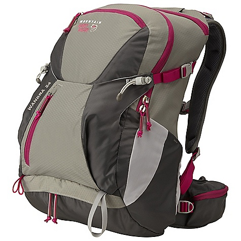 Camp and Hike Free Shipping. Mountain Hardwear Women's Wandra 24L Pack DECENT FEATURES of the Mountain Hardwear Women's Wandra 24L Pack AirMotion women's suspension offers flow through ventilated backpanel and ventilated shoulder straps Large main compartment with internal security pocket Convenient pull out rain cover stores in lower compartment and keeps your gear dry Easy access Lower compartment is ideal for rain jacket or fleece Comfortable, fully padded hipbelt with two zippered pockets to keep small gear handy Dedicated zip access hydration sleeve with dual ports Roomy front compression pocket for overloads, wet gear, etc The SPECS Weight: 2 lbs 7 oz / 1.10 kg Capacity: 1450 cubic inches / 24 liter Torso Range: 15.0in. - 18.0in. / 38 - 46 cm Body: 420D HD Nylon Accent: 210D HexNut Ripstop Nylon Bottom: 420D HD Nylon - $134.95