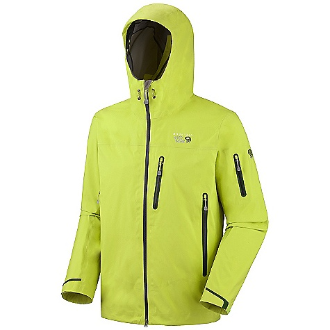On Sale. Free Shipping. Mountain Hardwear Men's Jovian Jacket DECENT FEATURES of the Mountain Hardwear Men's Jovian Jacket Alpine Fit Chest-high hand pockets accommodate a harness or pack Helmet-compatible hood with single-pull adjustment system and extra beefy brim Welded watertight pockets and zips seal out moisture Super light, extra-long pit zips for ventilation Interior zip pocket for keys, ID, other small items Micro-Chamois-lined chin guard eliminates zipper chafe The SPECS Average Weight: 1 lb 1 oz / 492 g Center Back Length: 28in. / 71 cm Body: 3L 40D (100% nylon) Laminate: Dry.Q Elite - $260.99