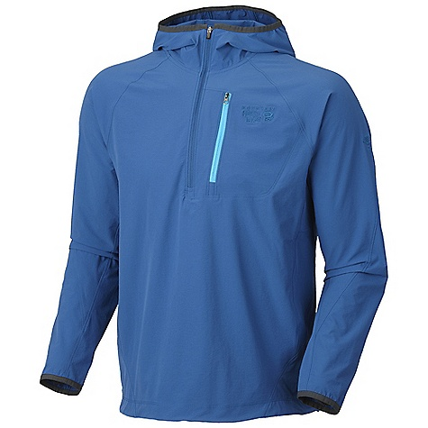 On Sale. Free Shipping. Mountain Hardwear Men's Chocklite Anorak Jacket DECENT FEATURES of the Mountain Hardwear Men's Chocklite Anorak Jacket Abrasion-resistant, Air permeable, Lightweight Softshell stretch fabric Easily stashes into own chest pocket Low-profile hood for snug fit Chest pocket with earpiece cord exit Elastic cinch adjustment on hem The SPECS Average Weight: 9 oz / 255 g Center Back Length: 29in. / 74 cm Body: Chock ultralite double Weave (86% nylon, 14% elastane) - $60.99