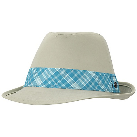 Mountain Hardwear Women's Sun Fedora DECENT FEATURES of the Mountain Hardwear Women's Sun Fedora Dark, glare-reducing color under brim 2.5in. brim The SPECS Average Weight: 4 oz / 105 g Body: Strolling Stretch twill (94% nylon, 6% elastane) Accent: palmyra desert plaid (54% nylon, 46% polyester) - $39.95