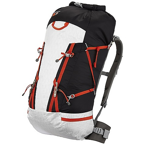 Climbing On Sale. Free Shipping. Mountain Hardwear SummitRocket 40 Pack DECENT FEATURES of the Mountain Hardwear SummitRocket 40 Pack Minimalist, versatile, effective Alpine UL suspension includes removable HardWave framesheet, removable lightweight hipbelt, and removable 48in. x 20in. pad Roll-Top design for easier access, while minimizing weight and clutter Dual density, low profile shoulder straps for a comfortable carry Versatile compression system secures climbing gear and overloads, but can be removed to reduce weight when not needed Super light, durable material set balances weight and reliability Front and rear grab loops are both clip secure Dual daisies and ice axe cradles create versatile tool lashing opportunities Horizontal daisy chains on lower sides of pack offer clip points for gear and quick stash loops for ice axes Lumbar is compatible with Alpine and FitLock hipbelts for extra support with heavy loads The SPECS Load Range: 15-30 lbs / 7-14 kg Body: 100D HT Ripstop Dobby Nylon Accent: HardWear X-Ply Dyneema Bottom: HardWear X-Ply Dyneema The SPECS for Medium Weight: 1 lb 11 oz / 750 g Capacity: 2440 cubic inches / 40 liter Torso Range: 17.0in. - 20.0in. / 43 - 51 cm Waistbelt Size: 30-35in. / 76-89 cm Minimum Weight: : 19 oz / 530 g The SPECS for Large Weight: 1 lb 12 oz / 800 g Capacity: 2750 cubic inches / 45 liter Torso Range: 19.5in. - 22.5in. / 50 - 57 cm Waistbelt Size: 34-39in. / 86-99 cm - $128.99