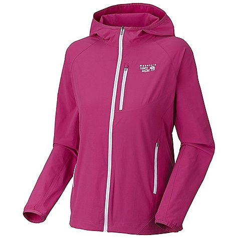 Free Shipping. Mountain Hardwear Women's Chocklite Jacket DECENT FEATURES of the Mountain Hardwear Women's Chocklite Jacket Jacket stuffs into left hand pocket for easy transport when not in use Close fitting hood Chest pocket with earpiece cord exit Two zipped hand pockets for secure storage Elastic cinch adjustment on hem DWR finish repels water The SPECS Average Weight: 9 oz / 265 g Apparel Fit: Active Center Back Length: 26in. / 66 cm Body: Chock Ultralite double Weave Softshell (86% nylon, 14% elastane - $99.95