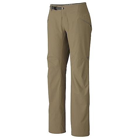 Free Shipping. Mountain Hardwear Women's Ancona Trek Pant DECENT FEATURES of the Mountain Hardwear Women's Ancona Trek Pant Abrasion-resistant, air-permeable, lightweight softshell fabric Micro-Chamois-lined seamless conical waist for comfort under a pack Integrated webbing belt with buckle closure for easy fit adjustments DWR finish repels water The SPECS Average Weight: 9 oz / 241 g Inseam: 30, 32, 34in. / 76, 81, 86 cm Body: Chock Ultralite double Weave Softshell (86% nylon, 14% elastane) Lining: Brushed Mesh lining (100% polyester) - $89.95