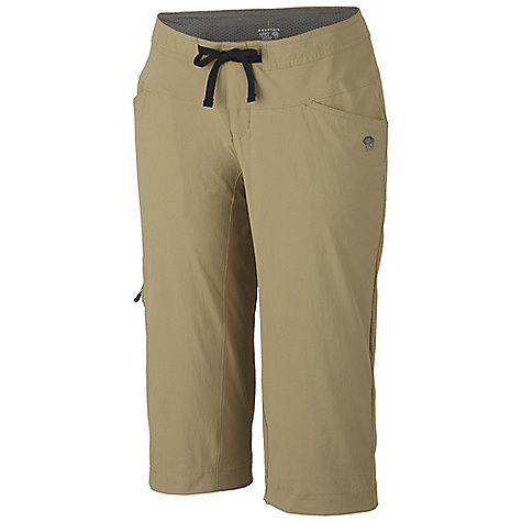 Free Shipping. Mountain Hardwear Women's Yuma Capri DECENT FEATURES of the Mountain Hardwear Women's Yuma Capri Micro-Chamois-lined seamless conical waist for comfort under a pack Soft draw cord at waist for easy fit adjustments Secured zip, side leg cargo pocket for storage Full length inseam gusset for mobility Durable, 4-way stretch fabric for movement DWR finish sheds moisture UPF 50 sun protection The SPECS Apparel Fit: Relaxed Average Weight: 8.5 oz / 240 g Inseam: 18in. / 46 cm Body: Switchback Plus (85% nylon, 15% elastane) Lining: Brushed Mesh Lining (100% polyester) - $64.95