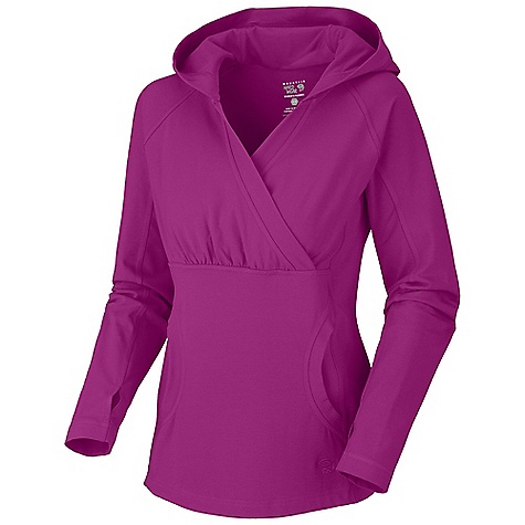 Free Shipping. Mountain Hardwear Women's High Step Hoody DECENT FEATURES of the Mountain Hardwear Women's High Step Hoody Low profile hood for a snug fit Kangaroo pocket Thumb loops keep hands warm Flat-lock seam construction eliminates chafe The SPECS Average Weight: 13 oz / 368 g Center Back Length: 26.5in. / 67 cm Body: V6 Stretch Jersey (90% cotton, 10% elastane) - $70.00