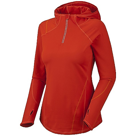Free Shipping. Mountain Hardwear Women's Butter Zippit Hoody DECENT FEATURES of The Mountain Hardwear Women's Butter Zippity Hoody Wicking, fast drying, stretch fabric Zip neck for ventilation and chin guard for comfort Low profile hood for a snug fit Thumb loops keep hands warm Reflective patches for safety Rear zip pocket secures valuables Flat-lock seam construction eliminates chafe UPF 50 sun protection The SPECS Average Weight: 10 oz / 277 g Center Back Length: 26.5in. / 67 cm Fabric: Body: Better Butter Jersey (89% polyester, 11% elastane) - $74.95