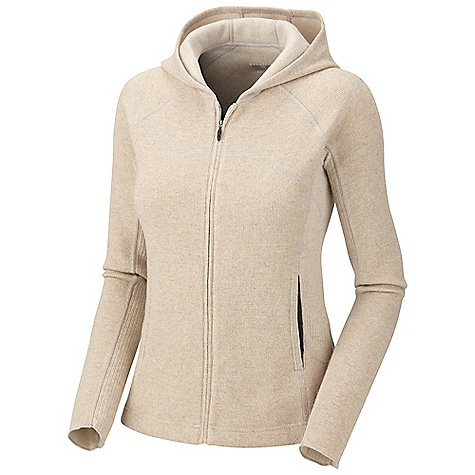 On Sale. Free Shipping. Mountain Hardwear Women's Sarafin Full Zip Hoody DECENT FEATURES of the Mountain Hardwear Women's Sarafin Full Zip Hoody Low profile hood for a snug fit Full front zipper with chin guard for comfort Hand pockets with earpiece cord exits Flat-lock seam construction eliminates chafe The SPECS Average Weight: 1 lb 1 oz / 492 g Center Back Length: 24.5in. / 62 cm Body: Dihedral Birdseye Jersey (40% reclaimed wool, 40% polyester, 18% nylon, 2% other) Panel: Dihedral Rib II (43% polyester, 19% wool, 19% reclaimed wool, 17% nylon, 2% other fibers) - $63.99