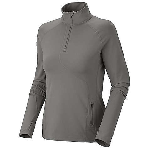 Free Shipping. Mountain Hardwear Women's Butter Zippity Top DECENT FEATURES of the Mountain Hardwear Women's Butter Zippity Top Wicking, fast drying, stretch fabric Zip neck for ventilation Chin guard for comfort Zipped secure pocket at side panel for storage Antimicrobial finish controls odor Reflective trim for visibility Thumb loops keep hands warm Flat-lock seam construction eliminates chafe UPF 50 sun protection The SPECS Average Weight: 8 oz / 227 g Apparel Fit: Active Center Back Length: 27in. / 69 cm Body: P. butter Jersey (87% polyester, 13% elastane) - $74.95