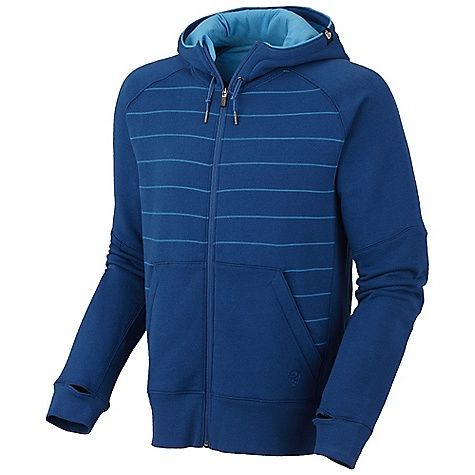 Free Shipping. Mountain Hardwear Men's Kevalo Full Zip Hoody DECENT FEATURES of the Mountain Hardwear Men's Kevalo Full Zip Hoody Low profile hood for close-fitting head and neck coverage Two front hand warmer pockets Thumb loops keep hands warm Flat-lock seam construction eliminates chafe Detailed with water-based placement print The SPECS Apparel Fit: Relaxed Average Weight: 1 lb 6 oz / 617 g Center Back: 26.5in. / 67 cm Body: Cipher Fleece (80% cotton, 20% polyester) - $84.95
