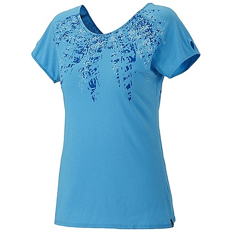 Mountain Hardwear Women's Numasa S-S T Shirt DECENT FEATURES of the Mountain Hardwear Women's Numasa Short Sleeve T-Shirt Update: style lines and graphic print detail Reversible can be worn frontwards or backwards Flat-lock seam construction eliminates chafe Detailed with water-based placement print The SPECS Apparel Fit: Semi-Fitted Average Weight: 3.8 oz / 108 g Center Back Length: 25.5in. / 65 cm Body: 140gm Arowina Jersey (100% cotton) - $40.00
