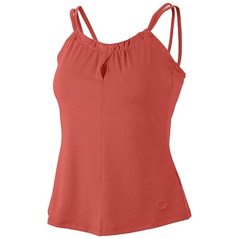 Surf Mountain Hardwear Women's Lucania Tank DECENT FEATURES of the Mountain Hardwear Women's Lucania Tank Soft hand and great drape Dri-Release blended yarns wick moisture and minimize odors The SPECS Average Weight: 4 oz / 115 g Center Back Length: 21in. / 53 cm Body: Locator travel Jersey (82% polyester, 11% tencel lyocell, 7% elastane) - $44.95