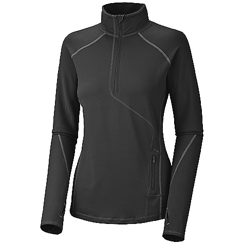 On Sale. Free Shipping. Mountain Hardwear Women's Butter Zippity DECENT FEATURES of The Mountain Hardwear Women's Butter Zippity Wicking, fast drying, stretch fabric Deep zipper opening at neck for ventilation Zipped secure pocket at side panel for storage Thumb loops keep hands warm Flat-lock seam construction eliminates chafe UPF 50 sun protection The SPECS Average Weight: 9 oz / 247 g Center Back Length: 26.5in. / 67 cm Fabric: Body: Better Butter Jersey (89% polyester, 11% elastane) - $41.99