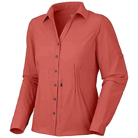 Free Shipping. Mountain Hardwear Women's Coralake L-S Shirt DECENT FEATURES of the Mountain Hardwear Women's Coralake Long Sleeve Shirt Seams rotated away from pressure points for comfort under a pack Flip-up sun protection collar Zip map pocket Wicking, fast drying, stretch fabric Sleeve roll-up tab for quick fit adjustments Wrinkle-resistant, quick-drying and durable fabric UPF 25 sun protection Mesh side panels for ventilation The SPECS Apparel Fit: Semi-Fitted Average Weight: 6.2 oz / 176 g Center Back Length: 26in. / 66 cm Body: Summit Stretch Plain weave (93% nylon, 7% elastane) Panel: Tipia Warp Knit Mesh (100% polyester) - $70.00