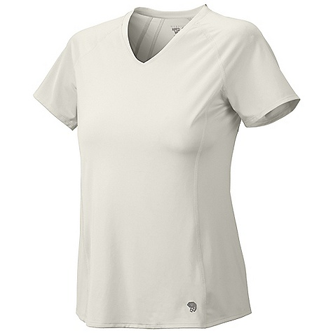 Mountain Hardwear Women's Tephra Trek S-S T Shirt DECENT FEATURES of the Mountain Hardwear Women's Tephra Trek Short Sleeve T Shirt Durable warp knit fabric for abrasion resistance Wicking, fast drying, stretch fabric Flat-lock seam construction eliminates chafe Antimicrobial finish controls odor UPF 50 sun protection The SPECS Apparel Fit: Semi-Fitted Average Weight: 3.8 oz / 108 g Center Back Length: 24.5in. / 62 cm Body: Tipa Warp knit (100% polyester) - $39.95