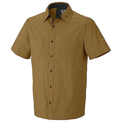 Free Shipping. Mountain Hardwear Men's Fergusson Shirt DECENT FEATURES of the Mountain Hardwear Men's Fergusson Shirt Lightweight, quick-drying, stretch fabric is perfect for travel Two chest pockets, one with zip closure The SPECS Average Weight: 6 oz / 163 g Center Back: 30in. / 76 cm Body: Nexstop stretch Pinstripe (58% nylon supplex, 42% polyester) - $64.95