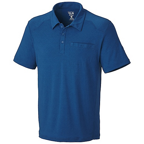 Free Shipping. Mountain Hardwear Men's Frequentor S-S Polo DECENT FEATURES of the Mountain Hardwear Men's Frequentor Short Sleeve Polo Dri-Release blended yarns wick moisture and minimize odor Chest pocket for small items The SPECS Average Weight: 8 oz / 232 g Center Back: 28in. / 71 cm Body: Locator Pass stretch Jersey (80% polyester, 14% cotton, 6% elastane) - $64.95